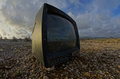 Abandoned Broken Television Stock Photography