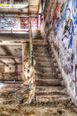 Abandoned building stairway and destroyed by urban decay Stock Photography