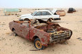 Abandoned cars in the desert qatar middle east Stock Photo