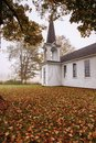 Abandoned Church in Pennsylvania Foggy Field Royalty Free Stock Photos