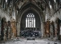 Abandoned church a ruined decaying covered in graffiti over the exposed bricks on the outskirts of detroit Stock Images