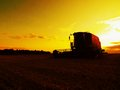 Abandoned combine harvest wheat in the middle of a farm field. Morning yellow wheat field on the sunset cloudy orange sky backgrou Royalty Free Stock Photo
