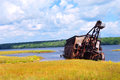 Abandoned copper reclamation suction dredge sits waters torch lake upper peninsula michigan mining equipment rusting sinking Royalty Free Stock Images