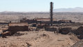 Abandoned factories humberstone ghost town atacama desert chile aerial view of industrial sector at a former nitrate mining and Royalty Free Stock Photography