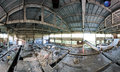 Abandoned factory panoramic interior Stock Images