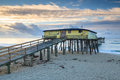 Abandoned fishing pier outer banks north carolina on the cape hatteras national seashore on the of nc Royalty Free Stock Image