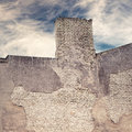 Abandoned grunge cracked brick stucco wall of old house with chimney Stock Images