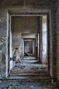 Abandoned hallway in hdr dirty run down empty old ruins high dynamic range photograph Stock Photography