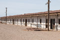 Abandoned homes humberstone ghost town atacama desert chile empty streets of houses at a former nitrate mining and processing in Royalty Free Stock Photo