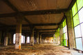Abandoned industrial building interior run down Royalty Free Stock Photos