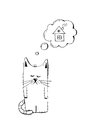 Abandoned kitten, adopt, animal cruelty, hand drawn illustration. Sad homeless kitten looking for a home, vector sketch Royalty Free Stock Photo