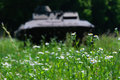 Abandoned military transport in peace nature green fields Stock Photos