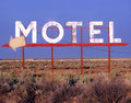 Abandoned motel sign next to the highway in central washington state Royalty Free Stock Images