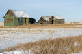 Abandoned old sheds and farm machine in winter an tar paper shack an a grassy field with snow an implement tot he right image Stock Image