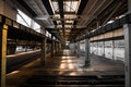 Abandoned old vehicle repair station interior Stock Images