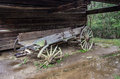 Abandoned pioneer wagon left to deteriorate beside a barn great smoky mountain national park gatlinburg tennessee Royalty Free Stock Image