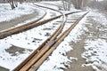 Abandoned railway track fork Royalty Free Stock Photo