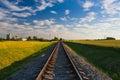 Abandoned railway track at sunset Royalty Free Stock Photo