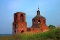 Abandoned red brick christian ortodox church in Russia Stock Image