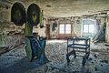 Abandoned room in hdr dirty run down empty old ruins high dynamic range photograph Royalty Free Stock Image