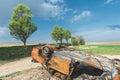 Abandoned rusty burnt car wreck, Royalty Free Stock Photo