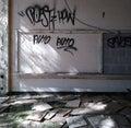 Abandoned School Classroom and Graffiti.