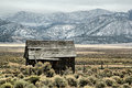Abandoned shack in utah a lone set the middle of an endless prairie Stock Photography
