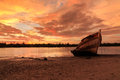 Abandoned ship the during golden hour sunset momment Stock Photography