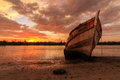 Abandoned ship the during golden hour sunset momment Royalty Free Stock Images