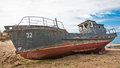 An abandoned ship in lake baikal siberia russia Royalty Free Stock Photos