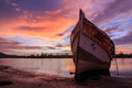 Abandoned ship the during twilight sunset momment Royalty Free Stock Photos