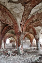 The abandoned stables destroyed with brick vault with an pillars Royalty Free Stock Images