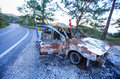 An abandoned stolen burnt out car antalya Stock Image