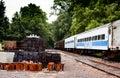 Abandoned train and rail yard Royalty Free Stock Photo