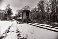 Abandoned train vintage on a track covered with snow in wycombe bucks county pennsylvania usa feb Royalty Free Stock Photo