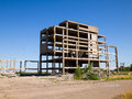 Abandoned unfinished building destroyed concrete structures of Stock Photography