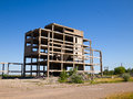 Abandoned unfinished building destroyed concrete structures of Stock Photos