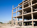 Abandoned unfinished building destroyed concrete structures of Royalty Free Stock Photography