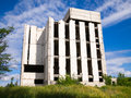 Abandoned unfinished building destroyed concrete structures of Stock Images