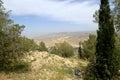 Abandonnez le paysage de montagne vue aérienne jordanie moyen orient Images libres de droits