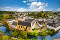 Abbey de neumunster view in luxembourg city on alzette river Stock Photos