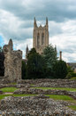 Abbey gardens bury st edmunds suffolk uk ruins in garden and church in the background Royalty Free Stock Photography