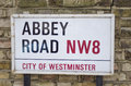 Abbey road london street sign outside the famous studios Royalty Free Stock Photography