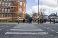 Abbey road zebra crossing made famous beatles album london england Royalty Free Stock Image
