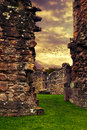 Abbey ruins with dramatic sky Royalty Free Stock Photography