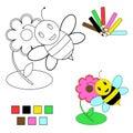 Abbozzo del libro di coloritura - ape e fiore Fotografia Stock