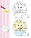 Abbozzo del libro di coloritura: sole felice Immagine Stock Libera da Diritti