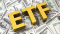 Abbreviation etf on the background of one hundred dollar bills Stock Image