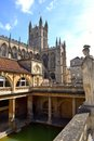 Abby and the baths in bath uk before crowds filled courtyard Royalty Free Stock Photography