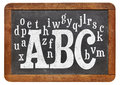 Abc and alphabet on blackboard random letters of a vintage slate isolated white Stock Photo